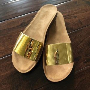 8c4e9d8a39e Shoes -    PRICE IS FIRM   Gold metallic slides sandals